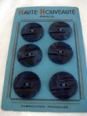 French 1930's  Art Deco Marbled Blue Buttons on Original Card